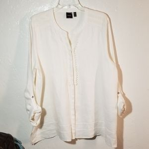 Raffaele Linen Button Down Blouse XL